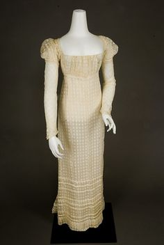 Embroidered White Checked Dress, c. 1810