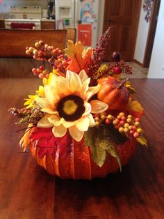 Pumpkin centerpiece using a dryer vent!