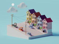 """다음 @Behance 프로젝트 확인: """"Low Poly San Francisco"""" https://www.behance.net/gallery/66628047/Low-Poly-San-Francisco"""