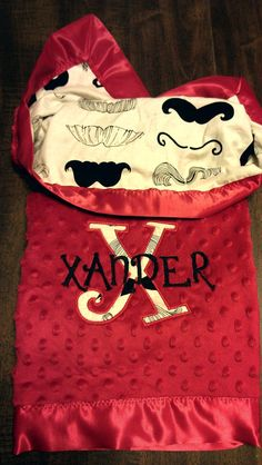 Mustache Baby Blanket with Red Minky and Name by LeftHandedLady, $49.00