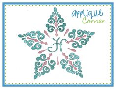 Snowflake Swirl Monogram Embroidery Design