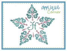 Snowflake Swirl Monogram Embroidery Design