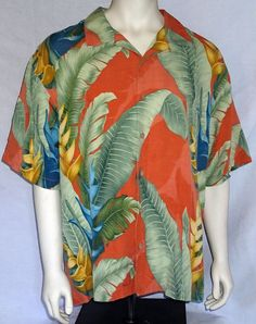 Tommy Bahama XL Short Sleeve Camp Shirt Button Front 100% Silk Orange Leaves  #TommyBahama #ButtonFront