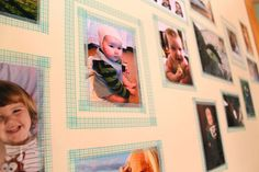 Washi Tape Wall Photo Frames via The Golden Adventures of a Very Dark Horse Diy Washi Tape Frames, Washi Tape Wall, Masking Tape, Washi Tapes, Diy Photo, Photo Craft, Tapas, Family Reunion Photos, Hanging Pictures