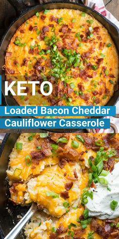 Loaded Cauliflower Casserole, Keto Casserole, Paleo Casserole Recipes, Low Carb Breakfast Casserole, Chicken Cauliflower, Cauliflower Crust, Ketogenic Recipes, Diet Recipes, Healthy Recipes