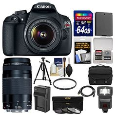 Canon EOS Rebel T5 Digital SLR Camera Body & EF-S 18-55mm IS II with 75-300mm III Lens + 64GB Card + Case + Flash + Battery + Tripod + Kit  http://www.lookatcamera.com/canon-eos-rebel-t5-digital-slr-camera-body-ef-s-18-55mm-is-ii-with-75-300mm-iii-lens-64gb-card-case-flash-battery-tripod-kit/