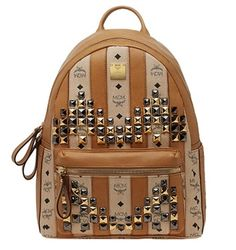 MCM Strasse Visetos Medium Backpack Beige