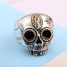 Men's Sterling Silver Virgin Mary Skull Ring