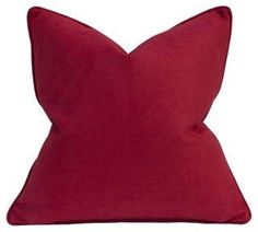Faux Suede 22x22 Pillow, Red -- This faux-suede pillow doesn't just look sumptuous; thanks to its feather-and-down insert, it feels luxurious as well. Made in the USA.