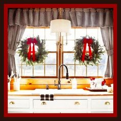 Farmhouse Kitchen Decorated for Christmas Holidays