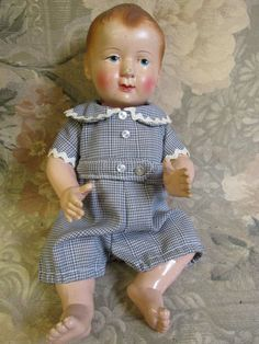 """9"""" French Celluloid Baby Boy in Original clothes"""