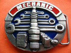 MECHANIC CAR TRUCK GARAGE SNAP ON TOOL SIGN BELT BUCKLE