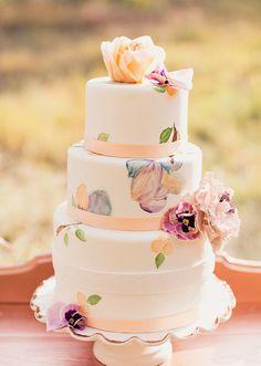 Peach Lavender hand painted wedding cake. So gorgeous! :: Vintage Wedding:: Rustic Wedding