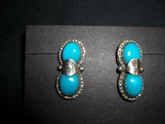 Signed Sterling Silver and Turquoise Earrings on Etsy, $35.00