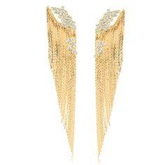 Brinco ear jacket com franjas e cristais branco folheado em ouro 18k - BR677D3270