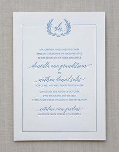 Letterpress Wedding Invitation / Jardin design / CHATHAM & CARON letterpress studio / monogram, floral, wreath, crest, border, classic, traditional, garden, summer, spring, wedding invitation, letterpress, calligraphy, script
