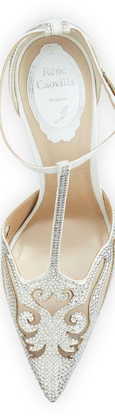 Rene Caovilla Crystal-Embellished T-Strap Evening Pump, White
