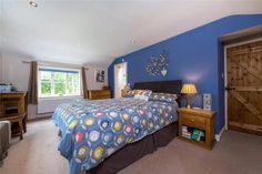 Double aspect master bedroom with en-suite, for details, contact Winkworths, Bourne Exposed Brick Walls, Exposed Beams, Grey Painted Walls, Log Burning Stoves, Window Seat Storage, Paved Patio, Cottage Interiors, Stone Flooring, Detached House