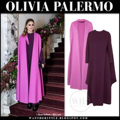 Olivia Palermo in pink cape and purple maxi dress at Valentino event in New York on October 24 2019 Purple Maxi, Olivia Palermo Style, Cape Coat, Valentino, Casual Outfits, Dress Up, October, Vogue, Nyc