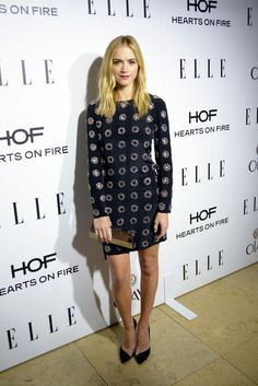 Emily Wickersham in a black embellished Emilio Pucci mini dress at the ELLE Women in Television Celebration