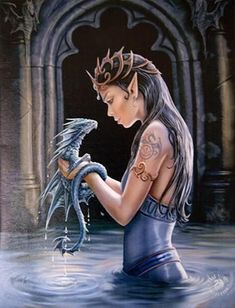 water dragon wall plaque art print anne stokes elf faery maiden with dragon art is part of Anne stokes art - WATER DRAGON Wall Plaque Art Print Anne Stokes Elf Faery Maiden with Dragon Art Fantasyart Water Anne Stokes, Gothic Fee, Fantasy Kunst, Dragon Girl, Water Dragon, Ice Dragon, Dragon Artwork, Dragon Drawings, Dragon Pictures