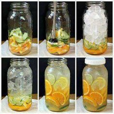 Body Flush and Detox Water Ingredients 1cucumber 1lemon 1 or 2oranges 2limes 1bunch of mint