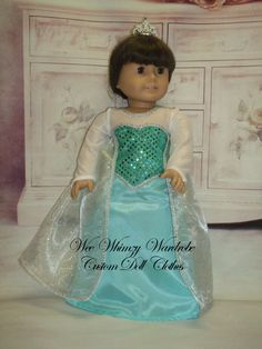 Frozen Ice Queen gown American Girl Doll and by WeeWhimzyWardrobe, $30.00