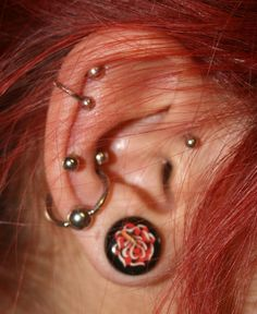 snug piercing - LOVE the hair color too!