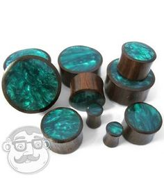 Urban Body Jewelry Pair of 0 Gauge Wood Plugs with Green Resin Inlay - - Double Flare Plugs Earrings, Gauges Plugs, Ear Jewelry, Body Jewelry, Jewlery, Jewelry Making, Body Piercing, Ear Piercings, Wood Plugs