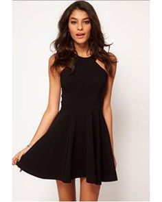 ASOS PETITE Exclusive Skater Dress With Popper Straps And Cut Away Detail