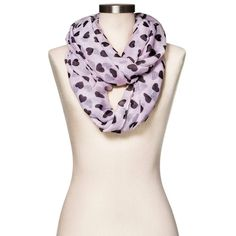 Women's Infinity Scarf Heart Print - Black and Pink. Image 1 of 2.