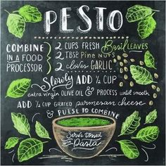Lily & Val - Pesto Recipe (English) - Plus Size Fashion & Dress Chalkboard Lettering, Chalkboard Designs, Food Art, A Food, Cooking Tips, Cooking Recipes, Lily And Val, Food Drawing, Kitchen Art