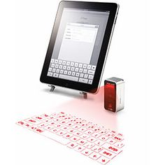 Cube Laser Virtual Keyboard for iPad & iPhone http://www.thinkgeek.com/product/e722/#tabs || Láser de Cubo Teclado Virtual para iPad e iPhone http://www.thinkgeek.com/product/e722/#tabs