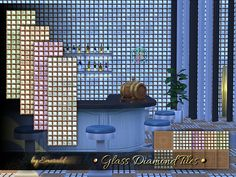 Glass tiles' reflections light up and  Found in TSR Category 'Sims 4 Walls & Floors Sets'