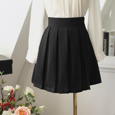 high waist pleated a-line skirt AddOneClothing.com Size Chart