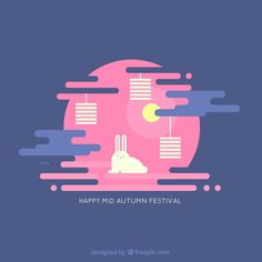 Rabbit with pink background for the mid-autumn festival Free Vector