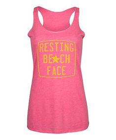 Hot Pink 'Resting Beach Face' Racerback Tank - Women