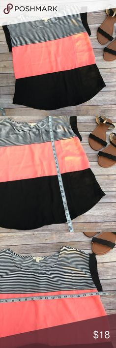 E (hanger) M Dual Print Top size Large New without tags gorgeous top from e(hanger)m brand sold at Anthropologie. This is perfect for the office or can be worn casually. The neon coral pops against the black and is so pretty when wearing! Anthropologie Tops