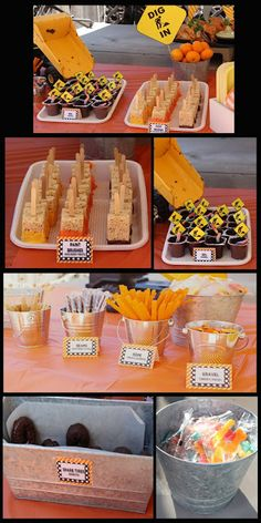 this is the best so far for ideas for a construction theme... side note: you have to read the blog on this, touching and her party ideas were cute