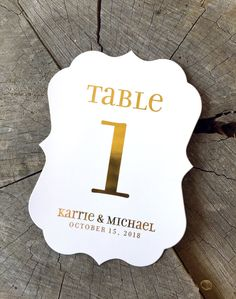 Gold Foil Unicase Table Numbers - Bracket Edge - Vintage Cartouche Gold Copper  - Glam Gold on Black
