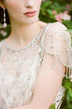 Stunning vintage art deco bride, makeup, and wedding dress detail