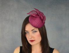 d686df41d6cfa Burgundy Sinamay Straw Pillbox Hat - Red Wine Fascinator - Bridesmaid  Fascinator - Burgundy Pillbox Hat