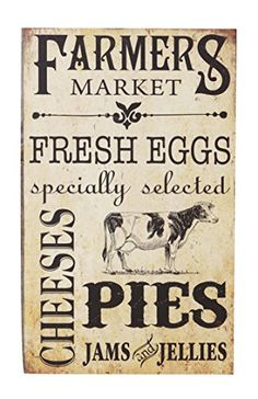 Wall Sign - Farmer's Market Mdf, Paper Home Decor/Inspired Living/Wall Signs Farmhouse Kitchen Signs, Country Farmhouse Decor, Farmhouse Chic, Country Kitchen, Country Chic, Vintage Farmhouse, Rustic Kitchen, French Country, Cow Kitchen Decor