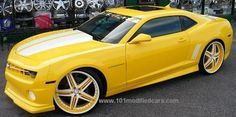 Modified Chevrolet Camaro custom painted yellow strips (aka Transformers Bumblebee), custom body kit, 24 inch RimSource II MHT Illusion Custom painted forged edition wheels