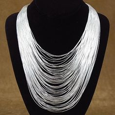 75 Strand Liquid Sterling Silver Waterfall Necklace $284.25 #alltribes