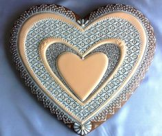 Hearts within hearts - blue Cookies Decorados, Galletas Cookies, Iced Cookies, Royal Icing Cookies, Cupcake Cookies, Cupcakes, Cookie Cake Decorations, Cookie Decorating, Valentine Day Love