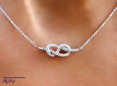 Infinity Knot Diamond Necklace 14K  Gold by SillyShiny on Etsy, $729.00