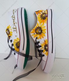 Painted Sneakers, Hand Painted Shoes, Sharpie Shoes, Sunflower Art, Floral Shoes, Shoe Art, Prom Shoes, Floral Style, Art Floral