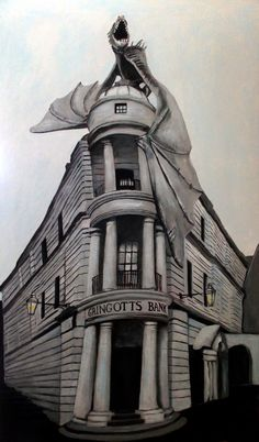 Gringotts By Dina Bielby Acrylic on Wood 2016