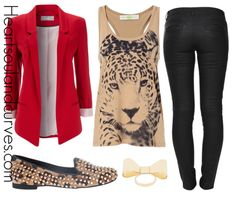 The red blazer and cheetah print flats make this great outfit idea inspiration.